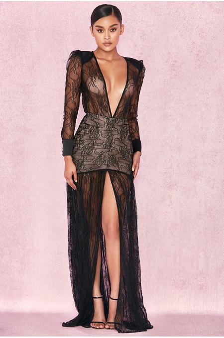 Griffe Black Lace Super Plunge Maxi Dress