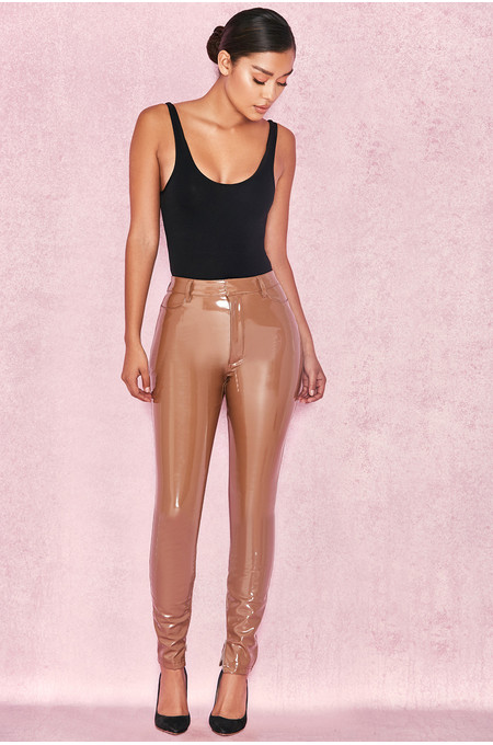 Haridan Coffee Patent Stretch Vinyl Trousers