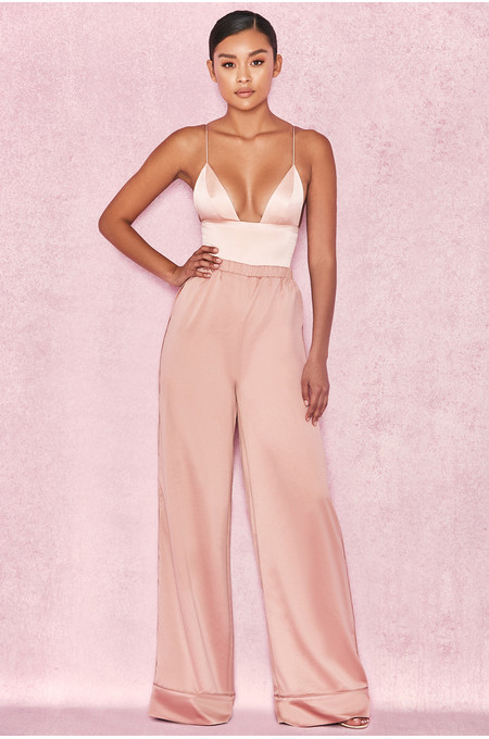 Tamra Salmon Satin Wide Leg Lounge Trousers