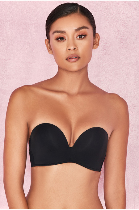 Smooth Plain Molded Black Strapless Bra