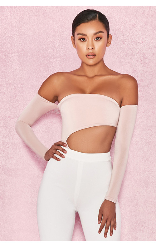 Ola Blush Off Shoulder Cut Out Bodysuit