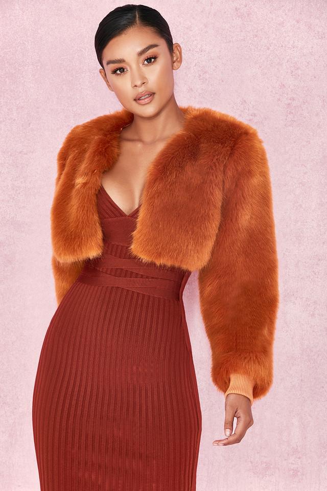 Corvelle Ginger Cropped Faux Fur Jacket