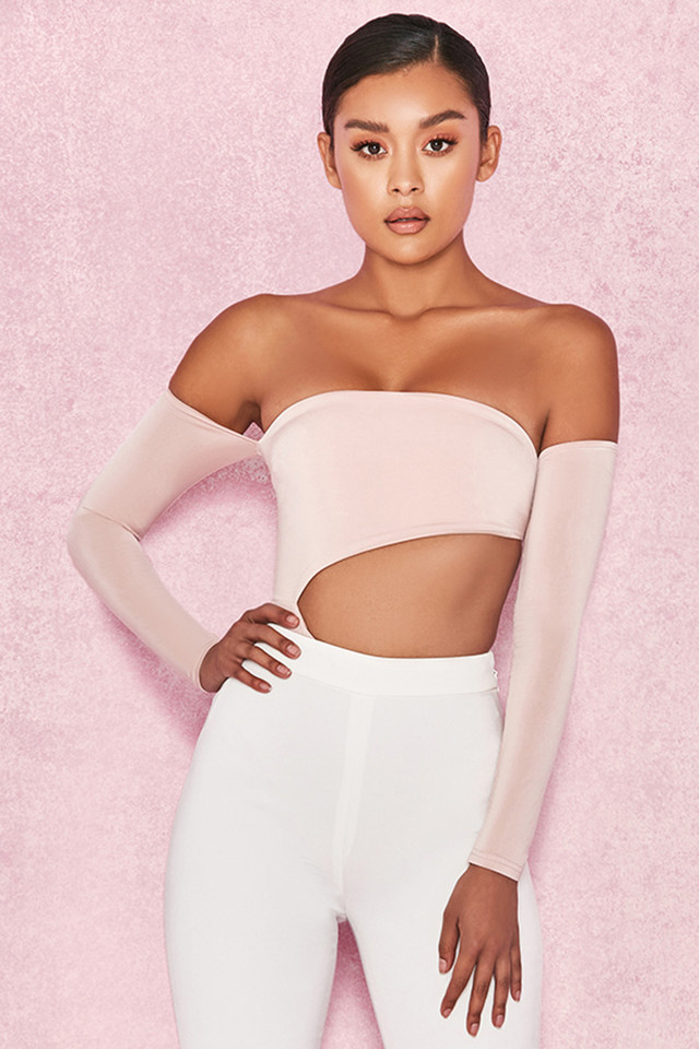 Ola Blush Off Shoulder Cut Out Bodysuit