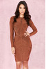 Calliope Rust Weave Detail Bandage Dress