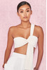 Marnelle Cream Knot Front Cropped Rib Top