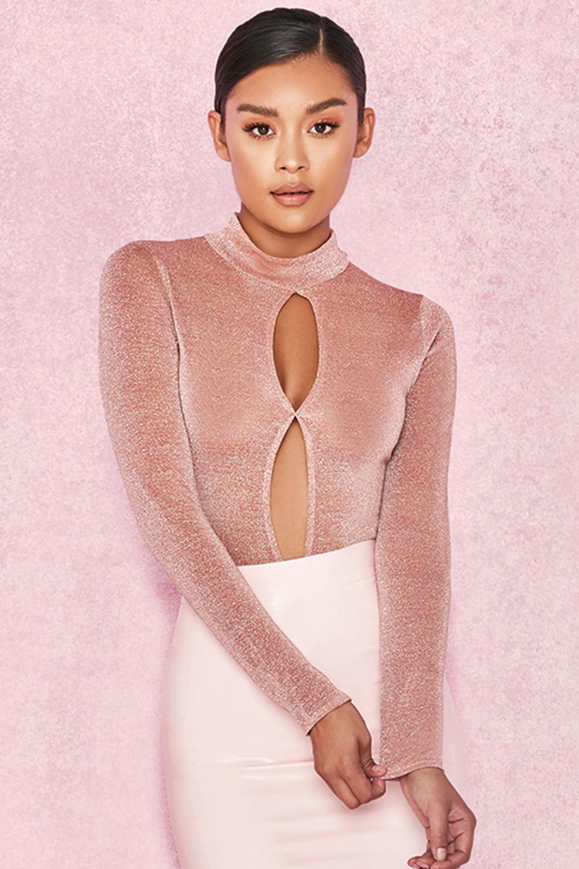 Concha Pink Lurex Bodysuit