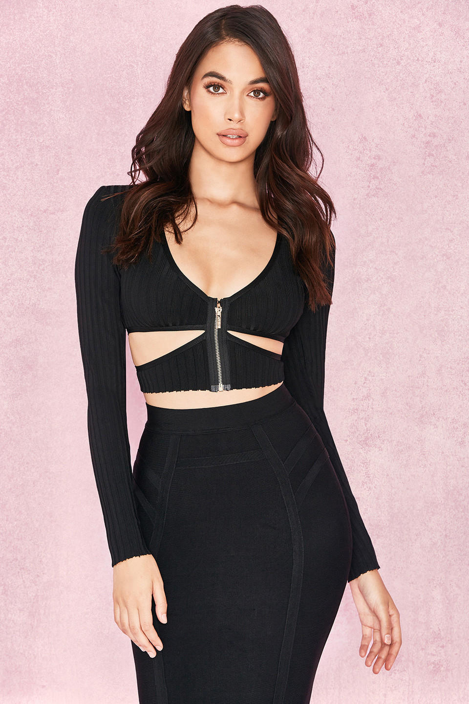 Kitana Black Ribbed Bandage Cut Out Cropped Top