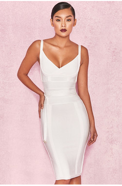 'Belice' White Tie Waist Bandage Dress