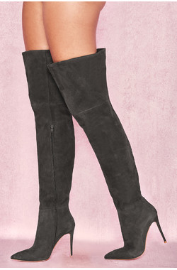 Extraordinaire Dark Grey Real Suede Thigh Boots