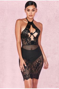 Francisca Black Lace & Tulle Halter Dress + Briefs