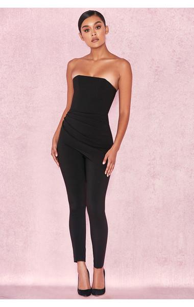 Leonida Black Strapless Jumpsuit