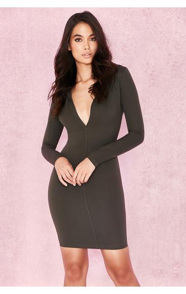 Rina Khaki Scuba Jersey Hooded Mini Dress