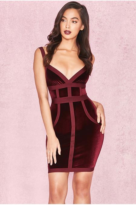 Carven Mulberry Velvet & Bandage Cross Bust Dress