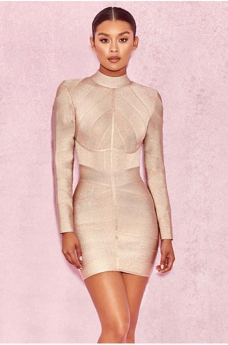 Navaz Beige Lurex Panelled Bandage Dress