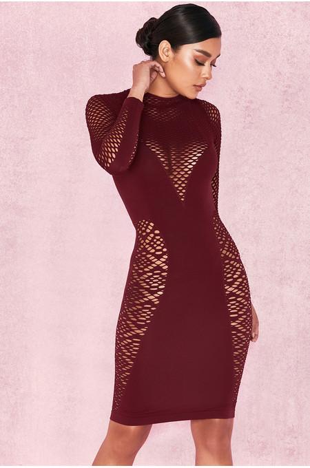 'Silvy' Red Long Sleeve Open Knit Dress