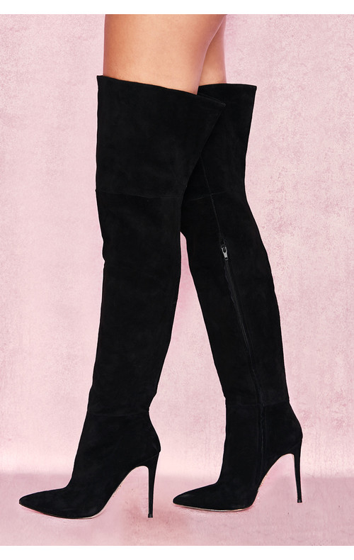 Extraordinaire Black Real Suede Thigh Boots