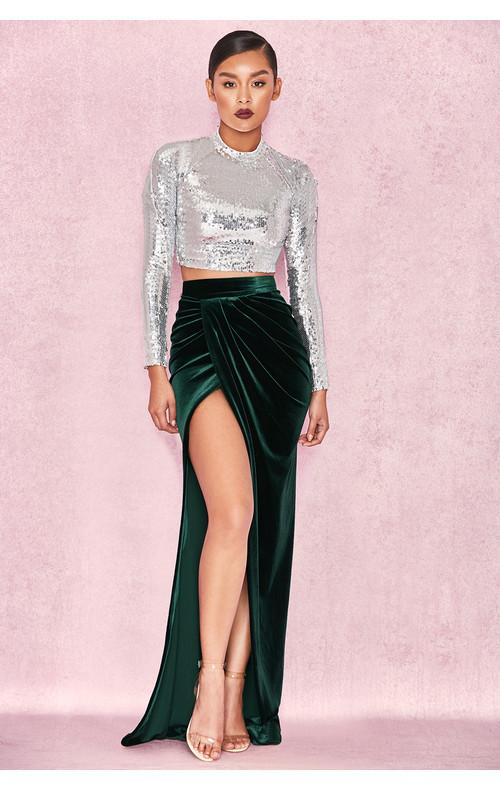 Therina Emerald Velvet Thigh Split Maxi Skirt