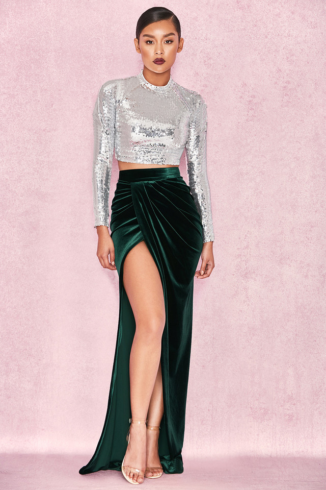Therina Emerald Velvet Thigh Split Maxi Skirt