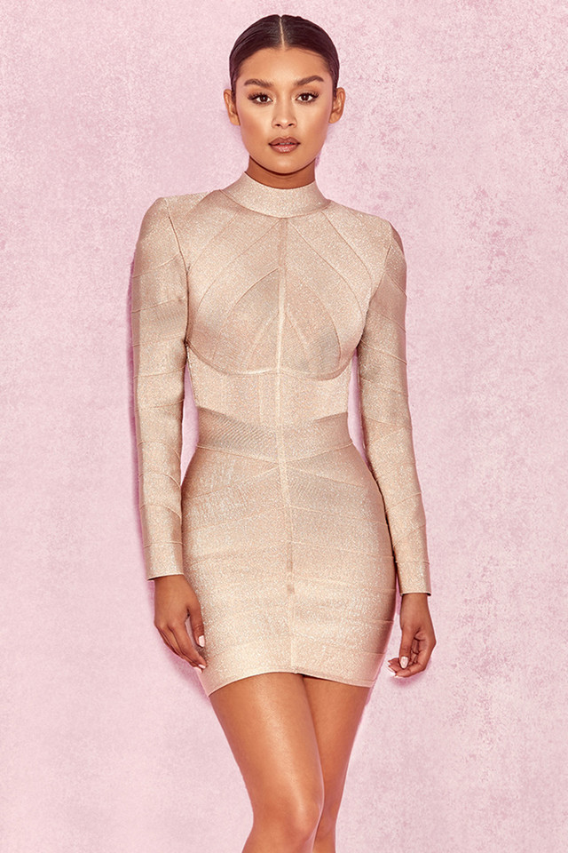 Navaz Beige Lurex Panelled Bandage Dress