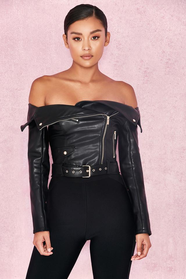 Romera Black Off the Shoulder Vegan Leather Jacket