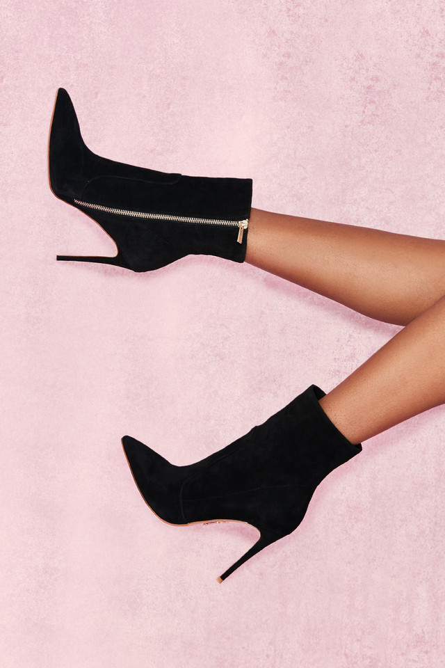 Serpenti Black Suede Stiletto Ankle Boot