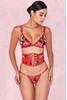 Salerna Red Bandage & Floral Velvet Waspie Corset