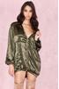Marca Khaki Oversized Satin Hooded Mini Dress