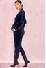 Sierra Navy Blue Luxe Velvet Tracksuit Pants