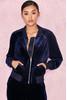 'Iria' Navy Blue Luxe Velvet Tracksuit Jacket