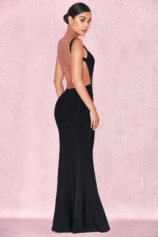 Ophelia Black Backless Maxi Bandage Dress