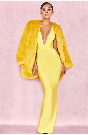 Cherie Lime Oversized Faux Fur Coat