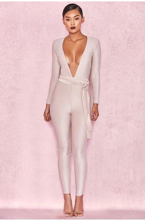 Kalila Pale Pink Lurex Long Sleeved Jumpsuit
