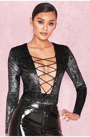 Lulu Black & Gold Velvet Lace Up Bodysuit