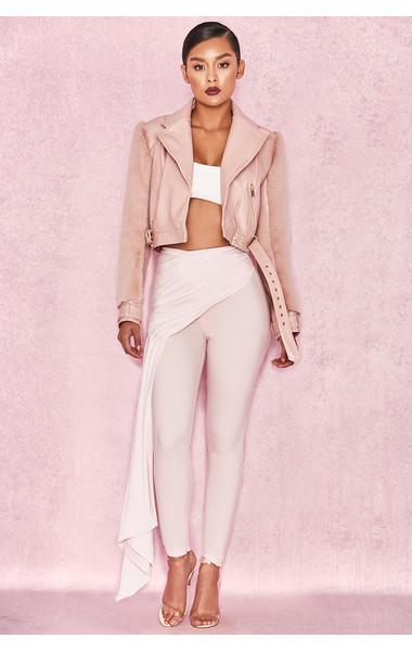 Caixa Pale Pink Front Drape Trousers