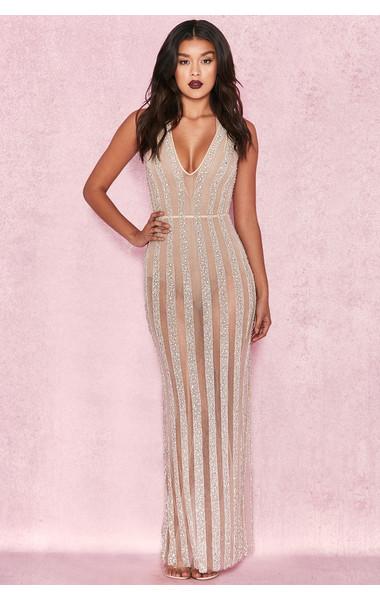 Godiva Champagne Linear Hand Embellished Crystal Dress