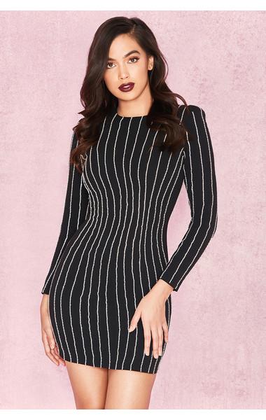 Tahnia Black Crystal Illusion Stripe Dress