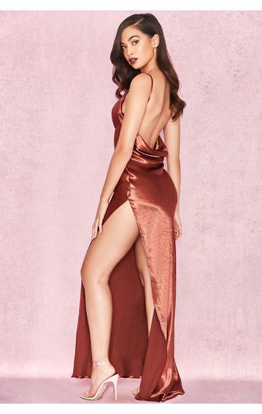 Tomasa Bronze Satin Draped Maxi Dress