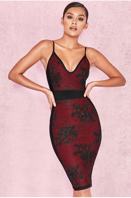 Akita Black & Wine Embellished Bandage Dress