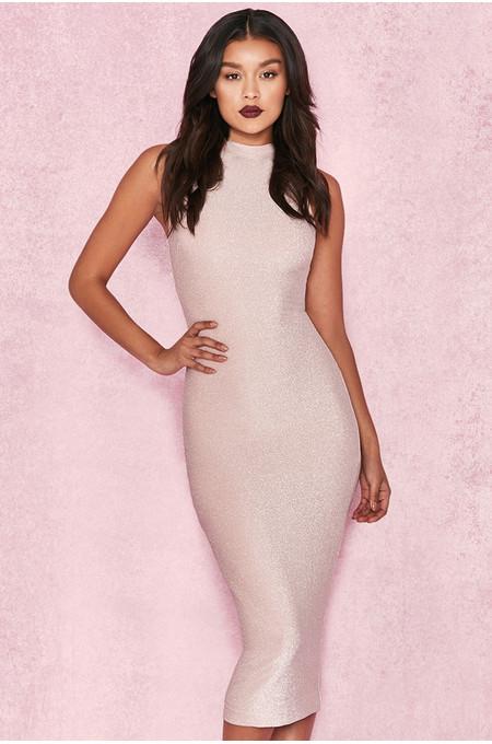 Frankie Pale Pink Lurex Midi Dress