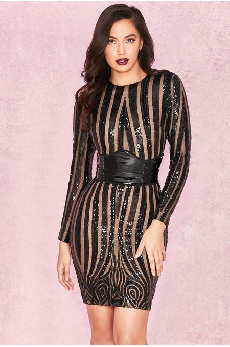 Jacopa Black Sequin Lace Long Sleeve Dress