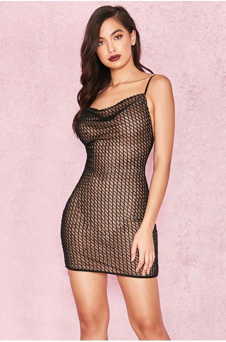 Yana Black Beaded Cowl Neck Mini Dress