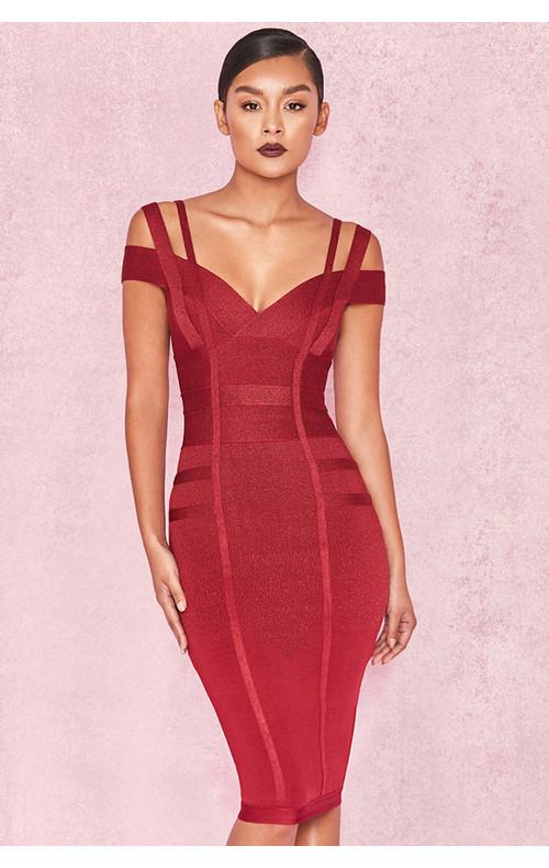 Mimi Wine Off Shoulder Bandage Dress