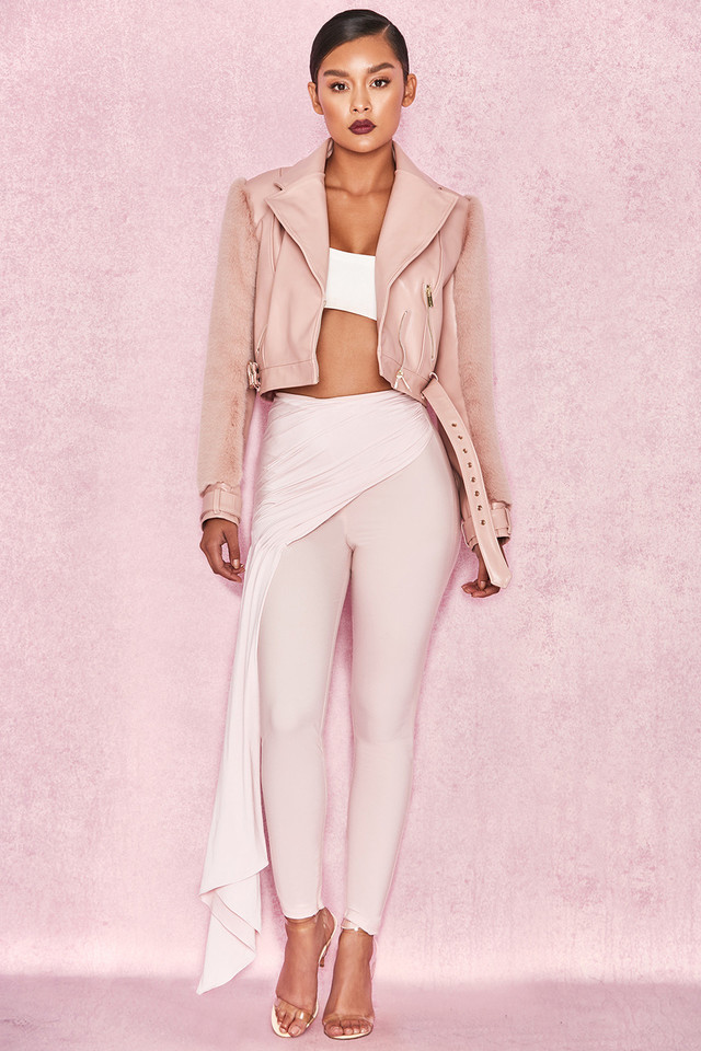 Caixa Pale Pink Front Drape Trousers