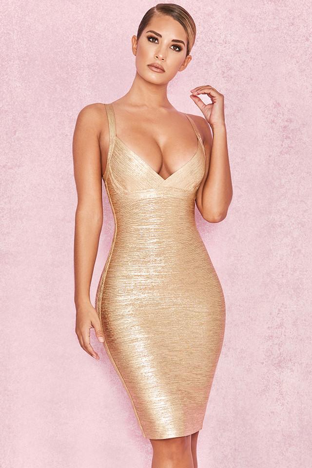 Iman Metallic Gold Cross Bust Bandage Dress