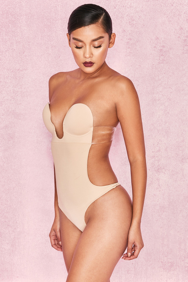Nude Plunge Self Adhesive Backless Bodysuit