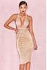 Isolde Metallic Gold Pleated Dress