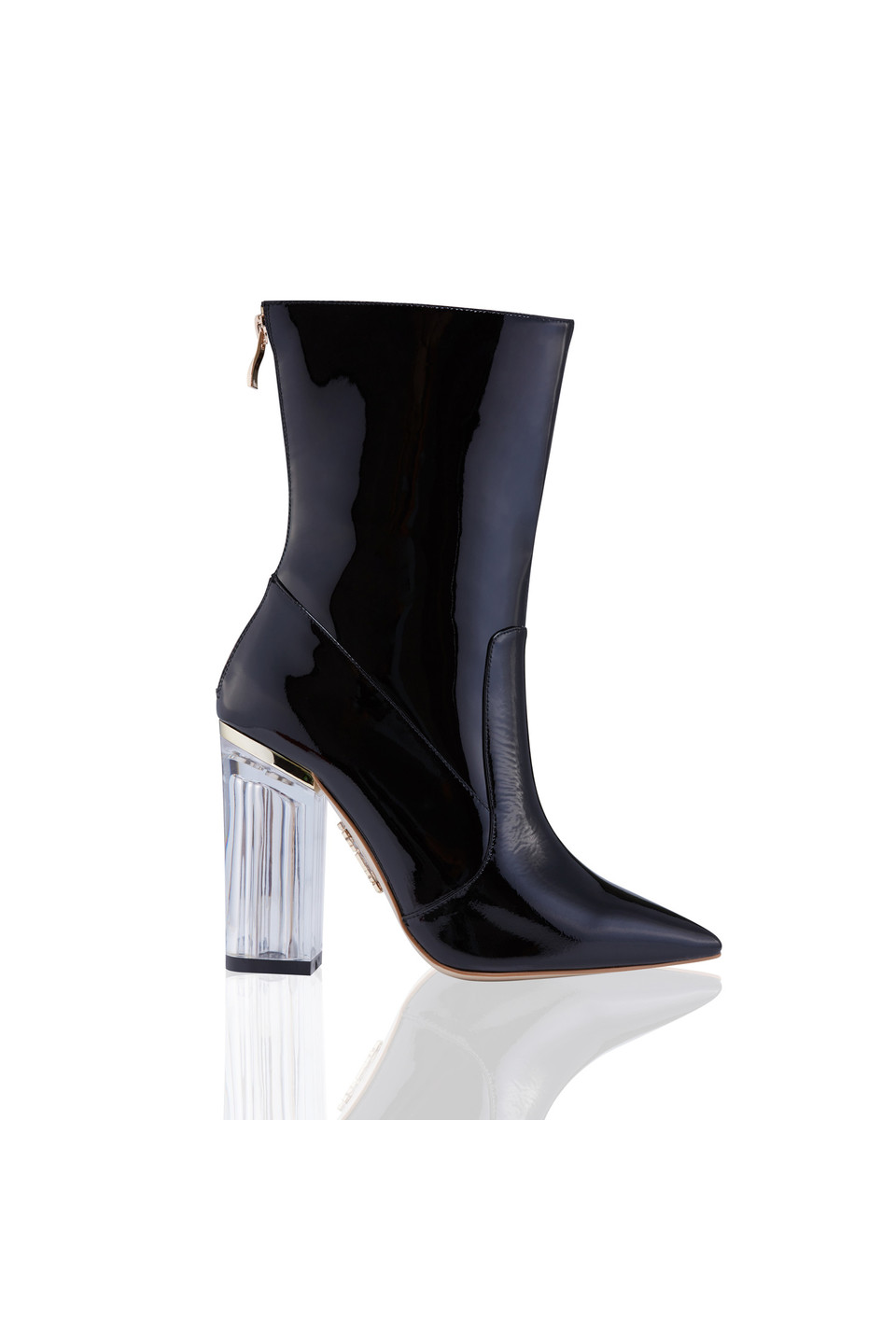 VISION Patent Black Zip Up Booties with Lucite Heels