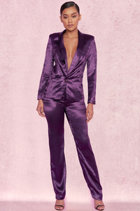 Amellina Deep Purple Satin Trouser Suit