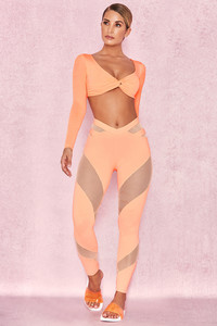 Tone Pastel Neon Orange Lycra + Mesh Leggings