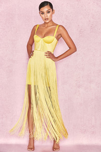 Emee Acid Yellow Satin Fringe Dress